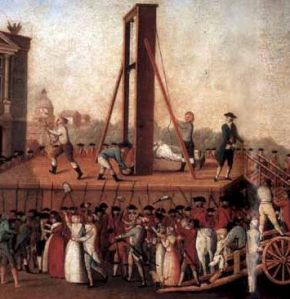"Revolutionary ""frogs"" and their guillotine device"