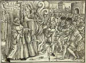 The burning of Thomas Cranmer, one of many martyrs who boldly declared that the Pope was the man of sin