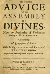 Title page of a 1647 printing of the Confession (source : Wikipedia)