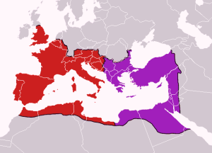 Map of the boundaries of the western and eastern Roman empires after the death of Theodosius I, in 395 AD. (source : Wikipedia)