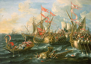 "Wikipedia.org : ""A baroque painting of the battle of Actium by Lorenzo A. Castro, 1672. The Maritime Museum of Greenwich, Director's office, UK"""